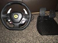 Xbox 360 Ferrari steering wheel and peddles