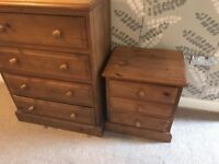 Oak chest of Draws and beside cabinet