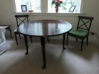 Georgian dining table and 4 chairs
