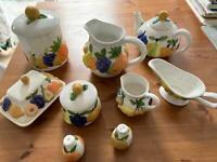 Ceramic teapot,jug,biscuit barrel,gravy boat,butter dish,sugar&milk,salt&pepper