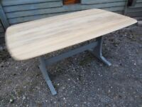 Fully Refurbished - Lovely Ercol Solid Elm Plank Refectory Dining Table Painted Farrow & Ball - Osmo