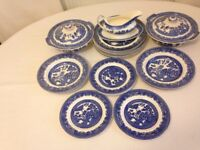 """19 Pieces of Blue """"Old Willow """" Alfred Meakin c1930's"""