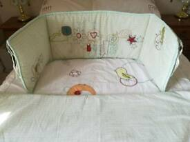 Cot bed duvet and bumpers