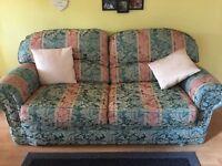 Chunky green pattern sofa settee