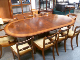 BEAUTIFUL UNIQUE BRASS INLAID DINING / BANQUET TABLE & 10 x CHAIRS VERY HIGH QUALITY FREE DELIVERY