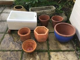 Selection of 9 Garden Pots & Planters in varying shapes and sizes