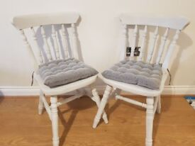 2 Shabby-Chic Solid Pine Dining Chairs
