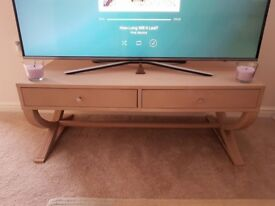 Vintage coffee table (light mocha colour) with two drawers and rounded legs