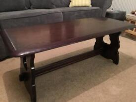 Solid wood, Priory coffee table, dark oak.