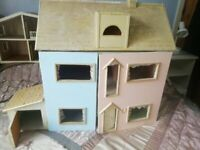 Hand crafted pastel colour doll house with garage