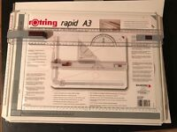 Unused Rotring A3 Drawing Board with accessories