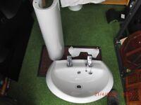 TWYFORDS BATHROOM SINK AND PEDESTAL COMPLETE WITH BRISTAN TAPS.