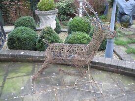 Large light-up wicker Reindeer, outdoor Christmas light decoration