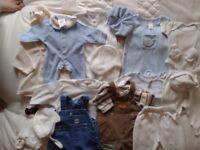 BABY BOYS CLOTHES BUNDLE, 2.7KG TO 0-3 MONTHS, VGC