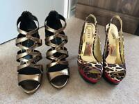 Two pairs of high heel shoes never worn