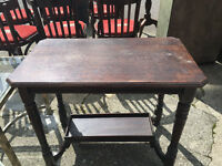 CHARMING VICTORIAN SOLID OAK RUSTIC 2 TIER CONSOLE HALL TABLE
