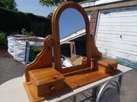 Wooden surround Mirror and storage, pine - good condition