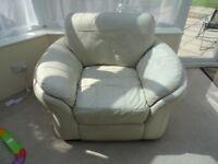 Italian cream leather armchair chair large