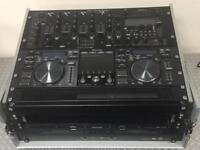 Pioneer MEP7000, American Audio SD-REC mixer, 1U sliding tray(ideal for keyboard) & Flightcase