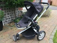 Quinny Buzz Black Pushchair stroller, rain cover & XL interchangeable seat cover