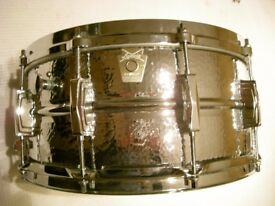 "Ludwig LM402K seamless hammered alloy snare drum 14 x 6 1/2"" - Chicago - '83-'84"