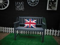 SOLID WOOD GARDEN/BALCONY BENCH PAINTED WITH OUTSIDE PAINT GREY COLOUR