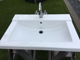 Large white vanity basin complete with taps used good condition