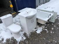 Toilet seat, bathtub and washing hand basin with storage all in excellent condition