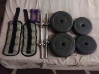 Weights dumbbell handles and ankle weights