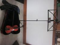 Stentor 4/4 violin, violin bow , shoulder rest , case , rosin and music stand