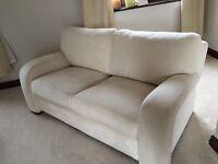 Cream suede sofa 2 seater