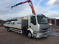 2008 Renault midlum 12 tonne 4x2 on springs with 22ft dropside body & 6500 kg palfinger