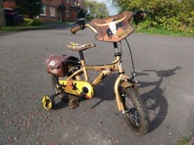 Childs bicycle and stabilizers 12 inch wheels american style with saddle bags!