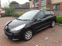 peugeot 206 estate 2009-105000miles-7 months mot -black in colour 1.4 sw £1300