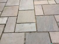Sandstone paving.