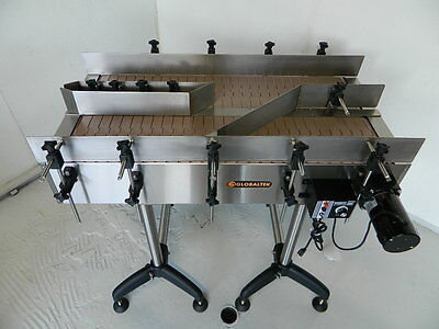 New Globaltek Stainless Steel Dual Lane Conveyor With Plastic Table Top Belt