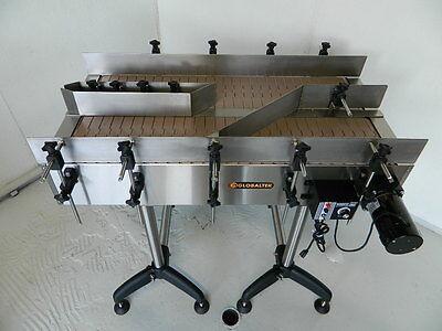 New Globaltek Stainless Steel Dual Lane Conveyor With Plastic Table Top Belt