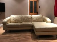 Cream Leather sofa/ chais lounge , excellent condition r