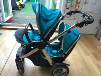 Oyster Max Inline Doubly Pushchair - Ocean Blue