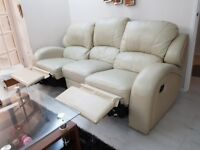 3 Seater recliner leather sofa & 2 recliner armchairs -in cream white- good condition