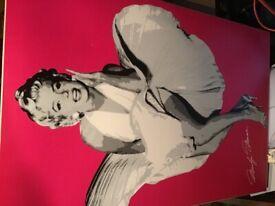 A Marilyn Monroe on wooden frame canvas