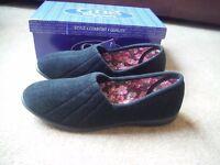 GBS Audrey Ladies Slippers Black UK7 BNIB