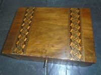 victorian inlaid box lined with key