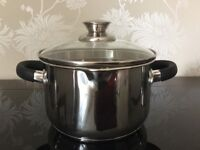 New Stainless Steel Twin Handled 18cm pan with pouring lid and steam vent
