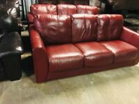 2 as new Italian leather 3 seaters sofas