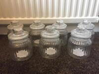 7 glass sweet jars