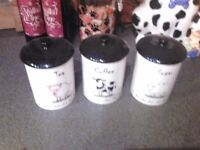 Three storage jars tea/coffee/sugar