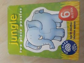 Orchard Toys - Jungle two Piece Puzzles - 6 in a Box - Age 18 months+ - 14 x 14cm approx - £2
