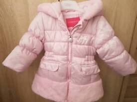Beautiful pink fur trimmed jacket size 12 months