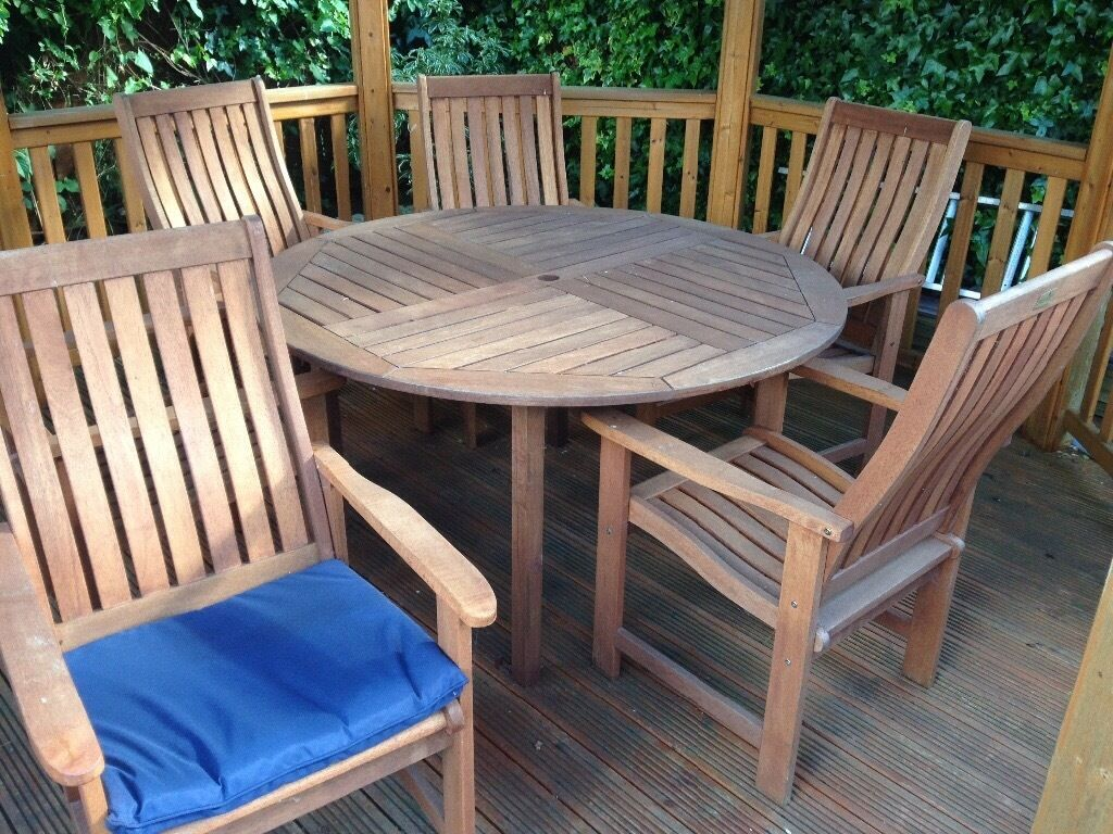 billyoh wooden round garden table and 6 chairs - Garden Furniture Edinburgh